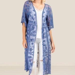 Francesca's Long Indigo Lace Kimono